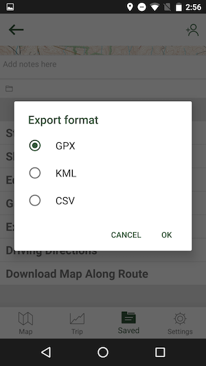 Export Tracks and Waypoints to GPX or KML via Email, Dropbox, etc